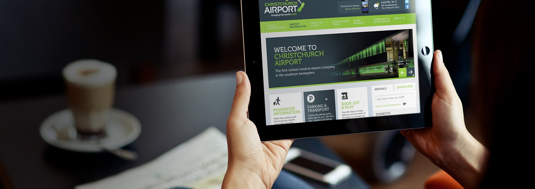 Christchurch Airport 2013 Homepage On A Tablet