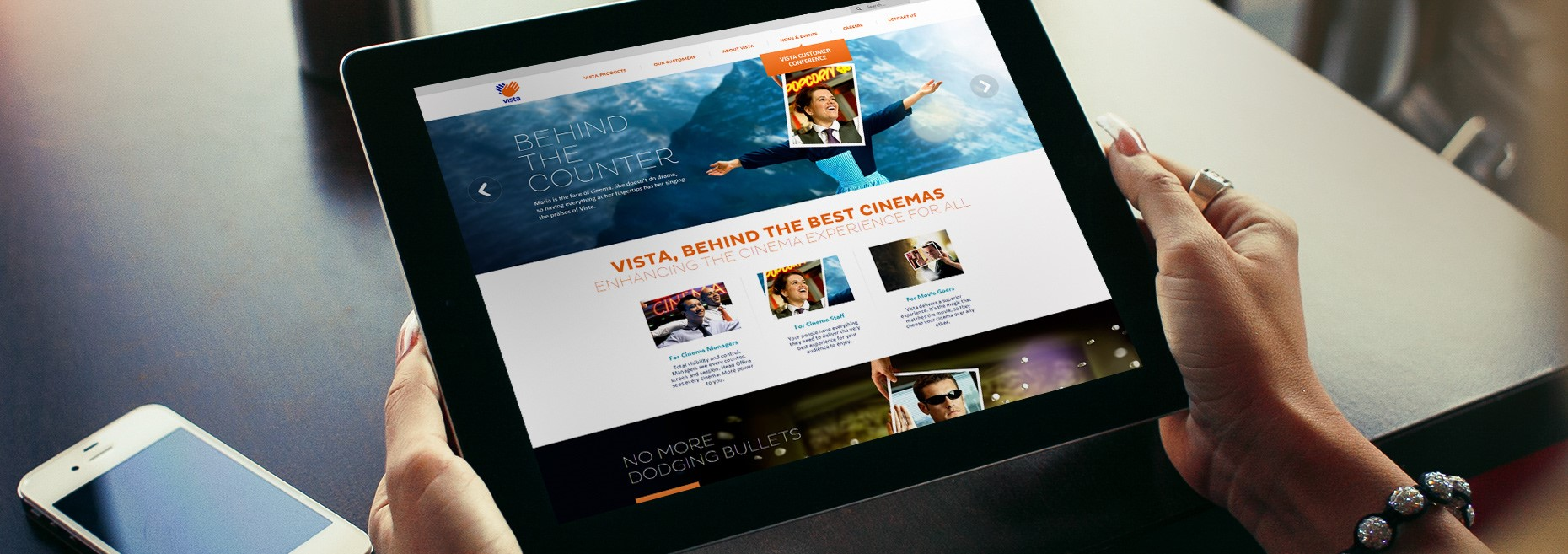 Vista Entertainment Solutions Homepage On A Tablet