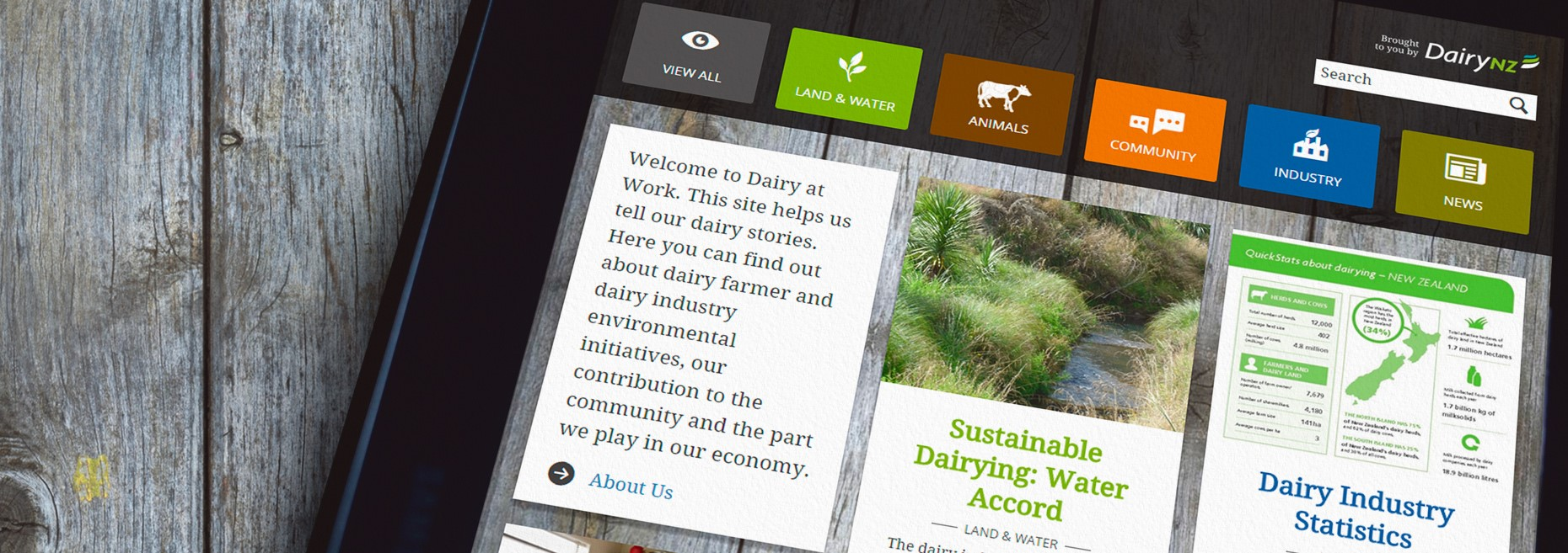 DairyNZ Dairy At Work homepage on a tablet