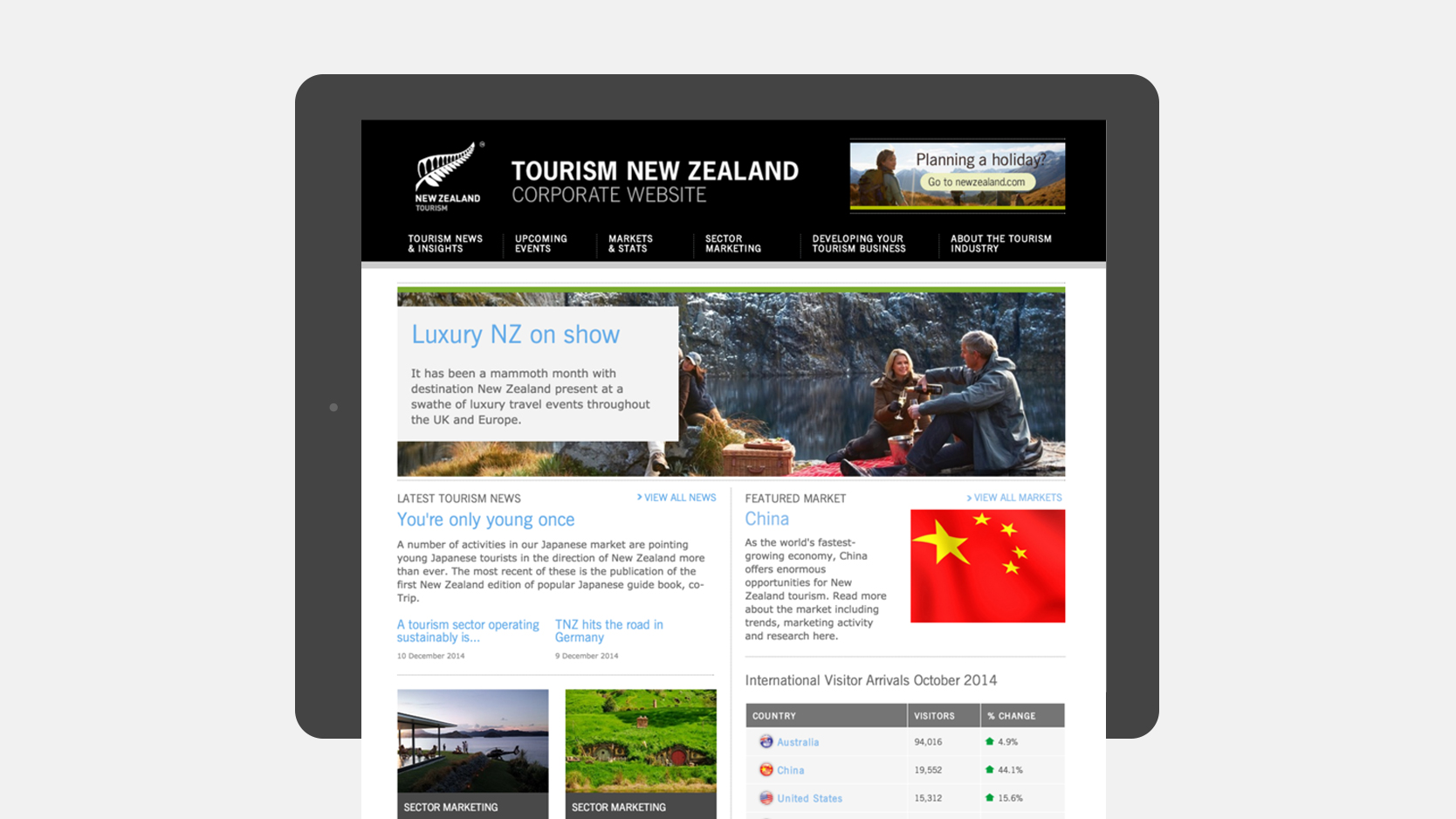 Tourism New Zealand Viewed On A Tablet