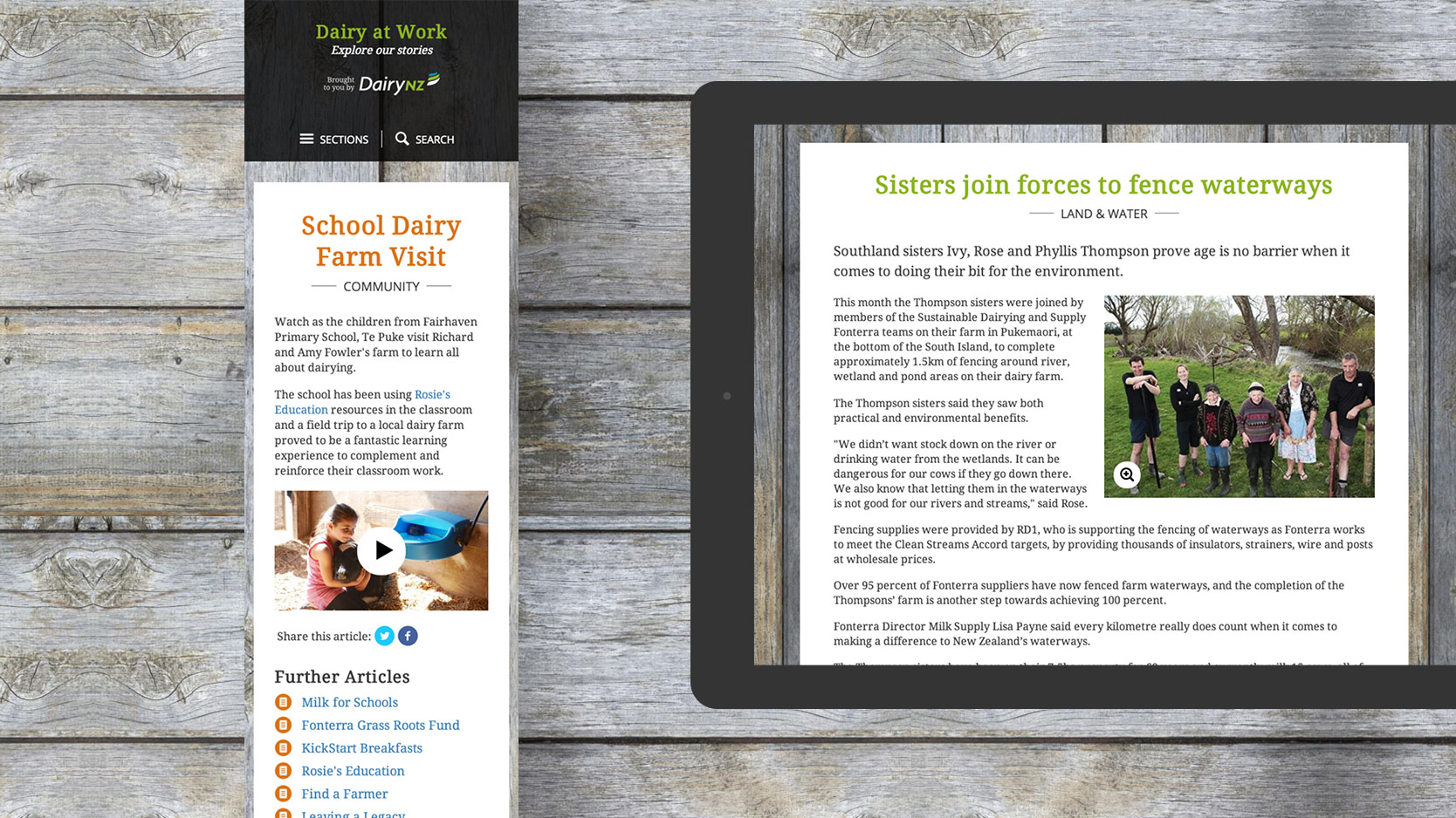 A Dairy At Work article viewed on a mobile and tablet