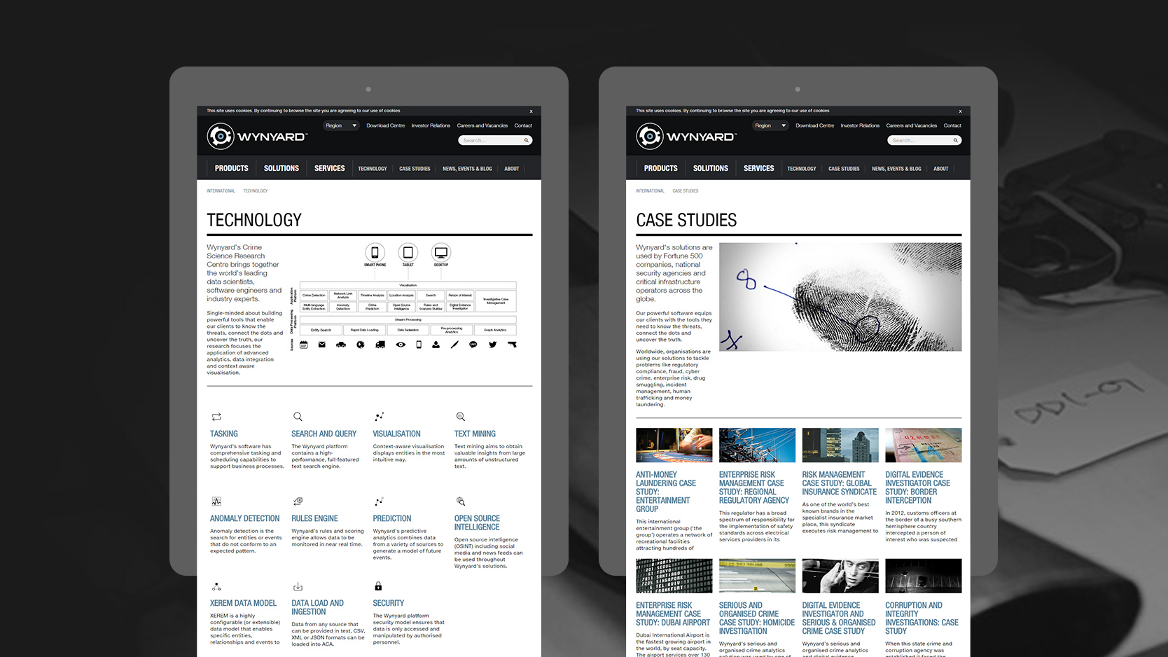 Wynyard Group Technology and Case Studies layouts on tablets
