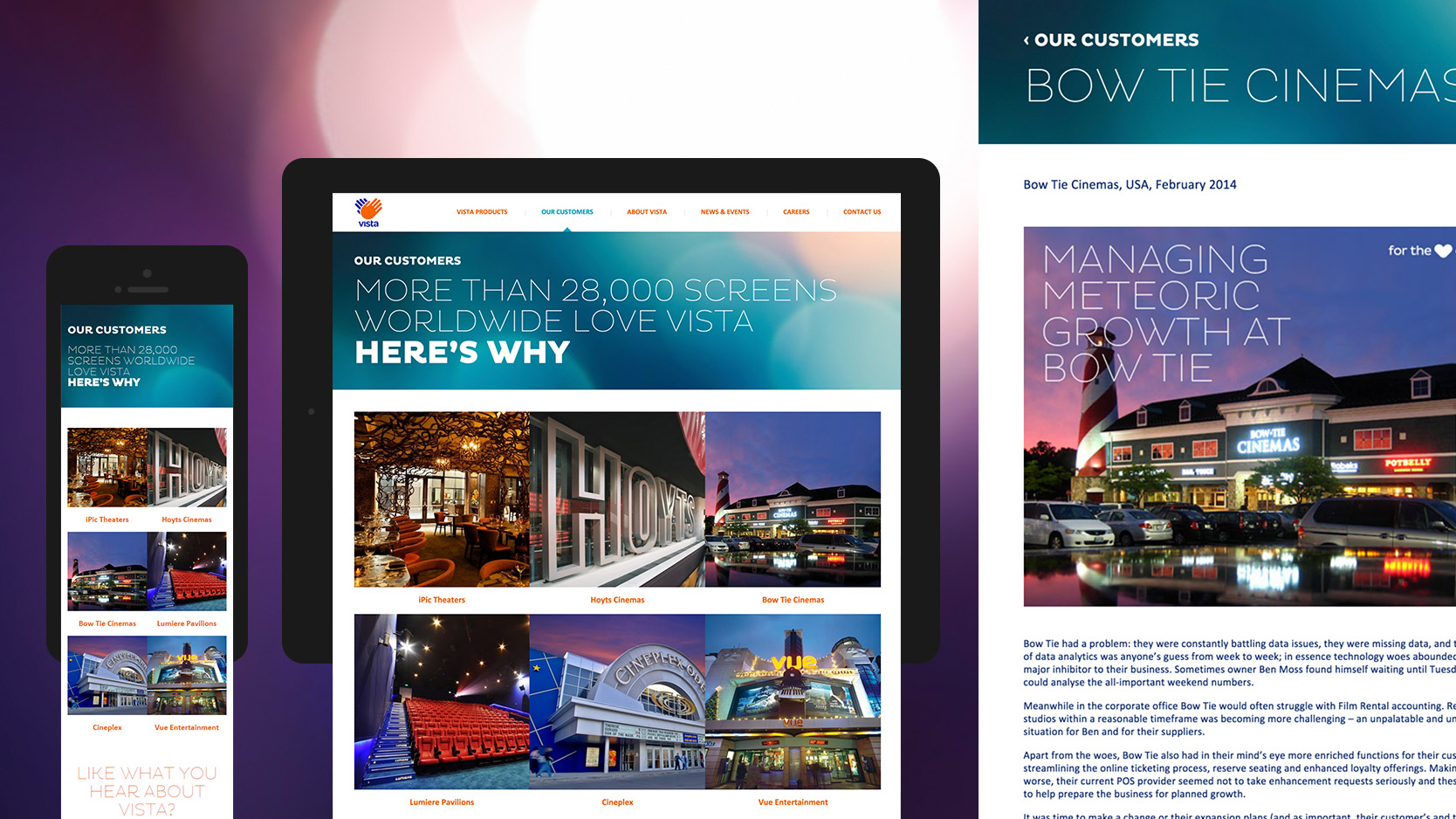 Responsive view of Our Customers page on Vista Entertainment Solutions