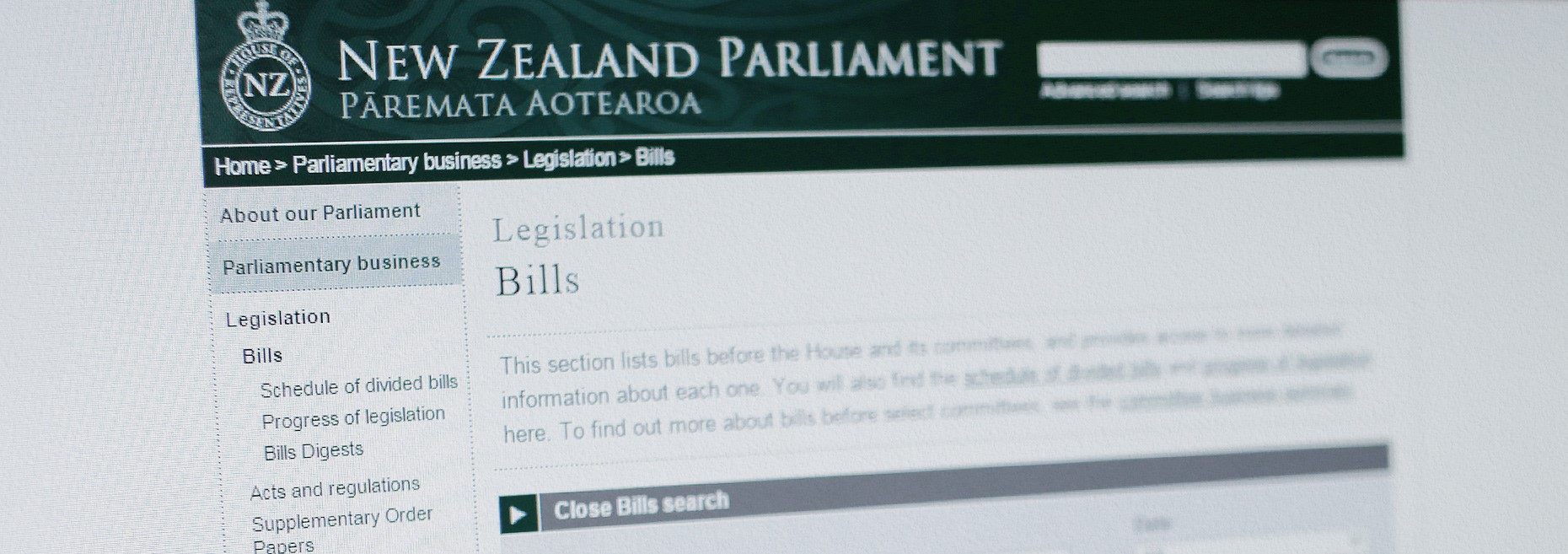 New Zealand Parliament's Website