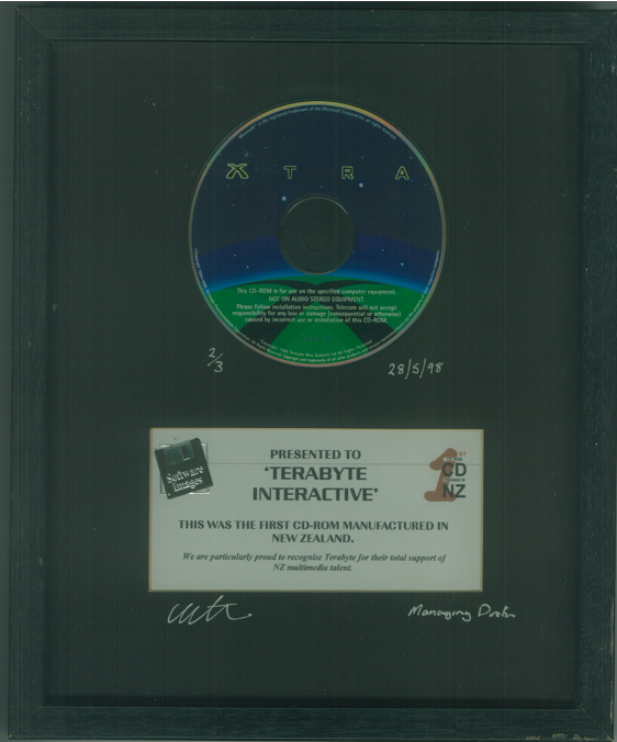 First CD-Rom Manufactured in New Zealand with Xtra and Terabyte